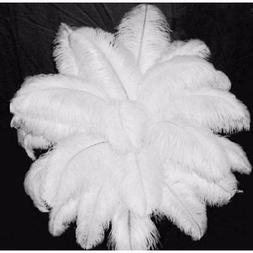 10~50pcs 12-14 Inch White Natural OSTRICH FEATHERS High Qual