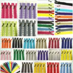 20-50cm Lace Closed End Zippers 3#Nylon For Purse Bags Multi