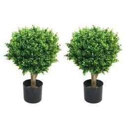 24 inch Realistic Fake Hedyotis Tree Topiary Indoor Outdoor