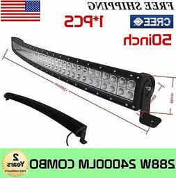 "288W 50""in Curved Led Work Light Bar Combo Driving ATV Offro"