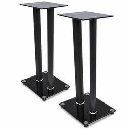 2pcs Speaker Stands Pair Glass Aluminum Black w/ 2 Pillar Mo