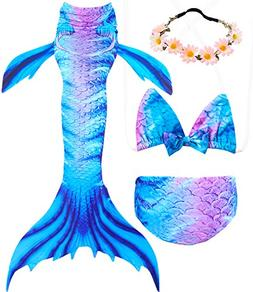 Garlagy 3 Pcs Girls Swimsuit Mermaid Tails for Swimming Prin