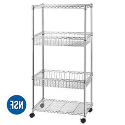4-Shelf Shelving Unit, Wire Shelving Unit, Wire Shelves with