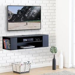 "40"" Floating TV Stand Wood Wall Mount 2 tier Media Shelves F"