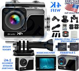 4K ULTRA HD ACTION VIDEO CAMERA WIFI TOUCHSCREEN WATERPROOF