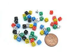 50 Six Sided D6 5mm .197 Inch Die Small Tiny Mini Miniature