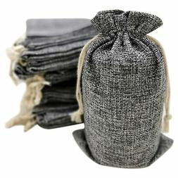 50 Gray Burlap Bags with Drawstring, 5x8 Inch  Gift Bag Bulk