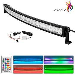 Nicoko 50 Inch 288w Curved LED Light Bar with Chasing RGB ha
