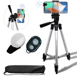"""50"""" Inch Camera Tripod with Smartphone Mount and Selfie LED"""