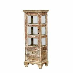 50 inch high white washed curio cabinet with two bottom draw