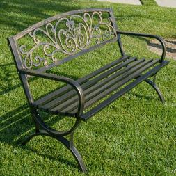 "50""-inch Outdoor Bench Patio Backyard Metal Garden Furniture"