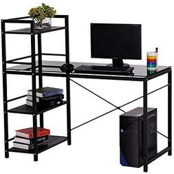 "50"" Multi Shelf Tower Office Workstation Computer Desk - Bla"