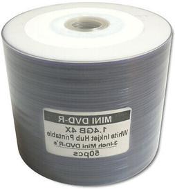 50-Pak 3-Inch White Inkjet Hub Mini DVD-R for Camcorders in