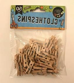 "50 pc Clothespins Natural Wood MINI 1"" inch Small Miniature"