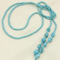 50inch long 4mm blue Turquoise beads necklace jewelry  for w
