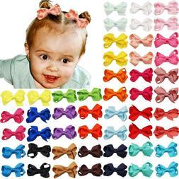 50PCS 2Inch Baby Girls Hair Bows Grosgrain Ribbon Mini Bows
