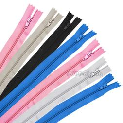 """50Pcs 9"""" 12"""" 16"""" Inch Nylon Coil Zippers Closed End Bulk for"""