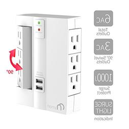 ON 6-Outlet Wall Tap Surge Protector- Top Power Strip w/6 Po