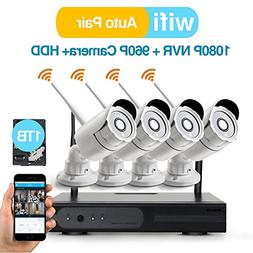 Video Security System 4 Pack- HD 960P WiFi IP Cameras and 1