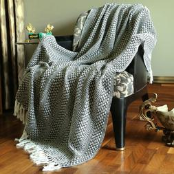 Cotton Gray Tassel Throw Woven Soft Warm Throw Blanket Rever