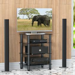 Fitueyes 4-tier Media Stand Audio/Video Component Cabinet wi