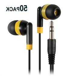 Keewonda Wholesale Bulk Earbuds Headphones - 50 Pack Cute Ea