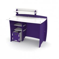 Legare Kids 43 in. Desk with Shelf and File Cart - Purple an