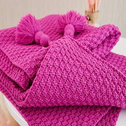 Treely Acrylic Super Soft Knitted Throw Blanket with Pompoms