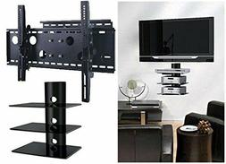 Articulating Tilt Swivel TV Wall Mount with Triple Glass She