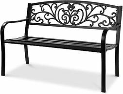 BCP 50 Patio Garden Bench Park Yard Outdoor Furniture Steel