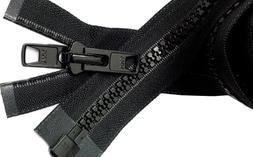 "Bimini Top #10 Black Marine Double Pull Zipper 50"" ~ YKK Zip"