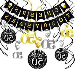 Konsait 50th Birthday Decorations Kit Cheers to 50 Years Ban