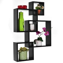 Black Intersecting 4 Square Floating Shelf Wall Mounted Home