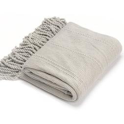 Battilo Inc Cable Knit Woven Luxury Throw Blanket With Tasse