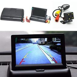 Car 4.3in Flodable LCD Screen Monitor Display + 4 LED Light