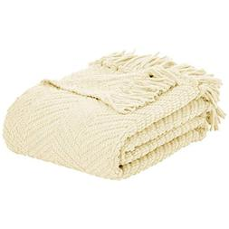 """AmazonBasics Chunky Knitted Fringed Blanket - Ivory, 50"""" x 6"""