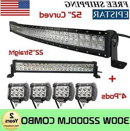 "Curved 52Inch LED Light Bar + 22in +4"" CREE PODS OFFROAD SUV"