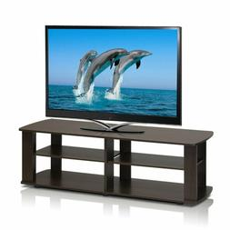 Dark Brown Tv Stand Media Entertainment Center Sturdy 42 50