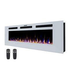 "3GPlus 50"" Electric Fireplace Wall Recessed Heater Crystal S"