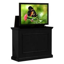 "Touchstone Elevate wood cabinet in rich black lifts 48"" TV."
