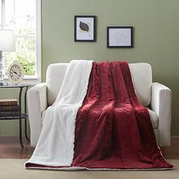 Tache 50 x 60 Inch Embossed Cozy Merlot Red Super Soft Luxur
