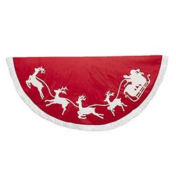 "Kurt Adler - 50"" Red and White Embroidered Santa and Reindee"