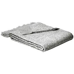 "AmazonBasics Faux Angora Fringed Blanket - Grey, 50"" x 60"""