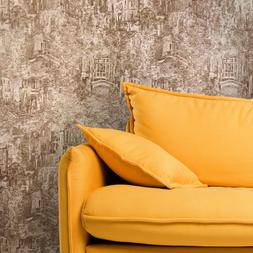 Faux Rug Old City Wallpaper brown Beige gold roll textured V