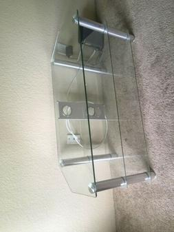 FITUEYES Classic Clear Tempered Glass TV Stand for up to 50