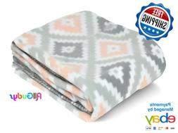 Fleece Throw 50x60 Inches Diamond Peach Grey White