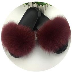 Fox Hair Slippers Women Fur Home Fluffy Sliders Plush Furry