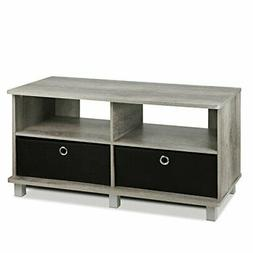 FURINNO 11156GYW/BK Entertainment Center W/2 Bin Drawers, Fr