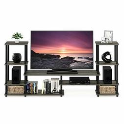Grey Entertainment Center 50 inch TV Stand Tall Modern Lux