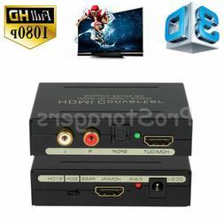 1080P HDMI to SPDIF Optical 4K RCA L/R Analog Audio Extracto